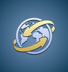 Logo Planet Earth with arrows vector image vector image