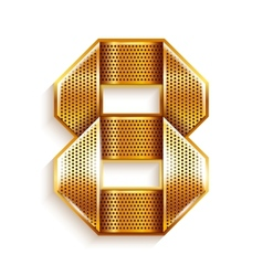 Number metal gold ribbon - 8 - eight vector image