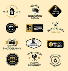photographer icons set vector image