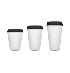 Realistic blank paper coffee cup set isolated on vector image vector image