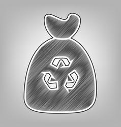 trash bag icon pencil sketch imitation vector image vector image