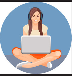 woman with crossed legs in yoga position sitting vector image vector image