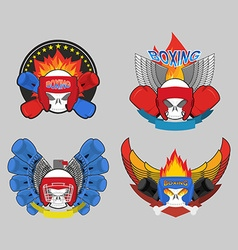 boxing logo set Skull and boxing gloves vector image vector image
