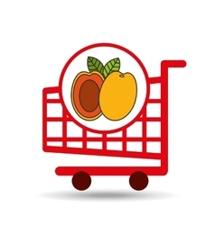 cart shopping fruit peach icon graphic vector image vector image