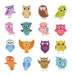 cute cartoon owls funny forest birds vector image vector image