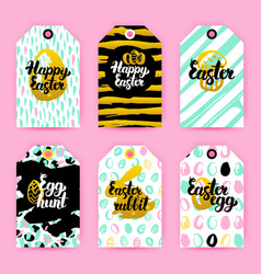 Happy easter gold trendy brochures royalty free vector image happy easter trendy gift labels vector image vector image negle Images