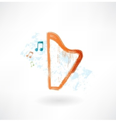 harp grunge icon vector image vector image