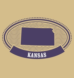 Kansas map silhouette - oval stamp of state vector image vector image