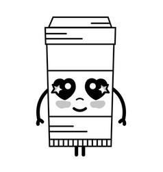 line kawaii cute happy coffe plastic cup vector image vector image