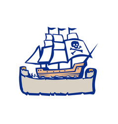pirate galleon ship sailing retro vector image vector image