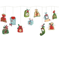 Seamless horizontal pattern brush with Christmas vector image vector image