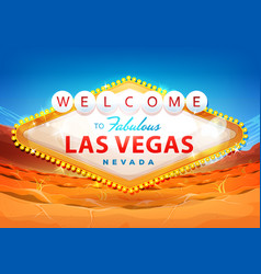 welcome to las vegas sign on desert background vector image