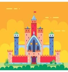 Cartoon Magic Fairytale Castle Flat Design Icon vector image