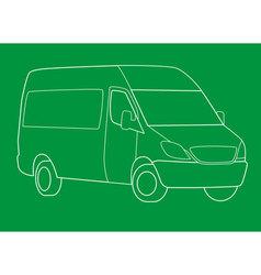 delivery van outline vector image vector image