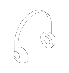 Headphone icon isometric 3d style vector image