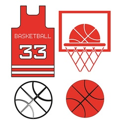 Red Basketball Objects vector image vector image
