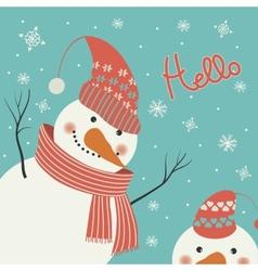 Snowman says hello vector image vector image