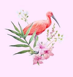 Watercolor ibis bird composition vector