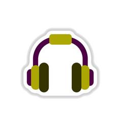 color label design earphones of music headphones vector image