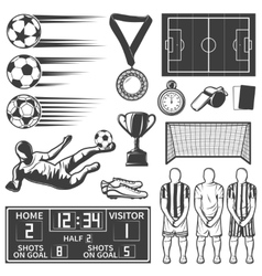 Soccer Monochrome Elements Set vector image