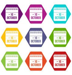 10 october calendar icon set color hexahedron vector image