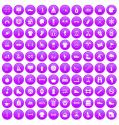 100 sport life icons set purple vector image
