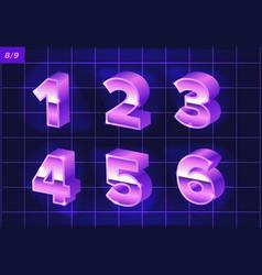 80 s retro alphabet font metallic effect type vector image