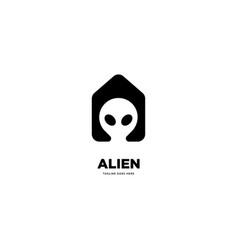 Alien head logo template vector