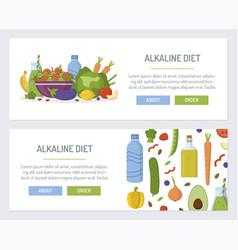 Alkaline diet web banners vector