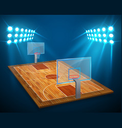An of hardwood perspective basketball arena field vector