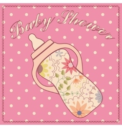 Baby shower with feeding bottle vector