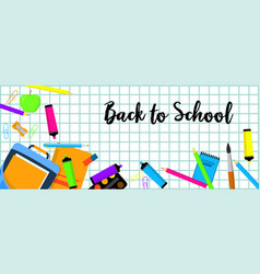 Back to school banner horizontal flat style vector