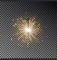 bengal fire new year sparkler candle isolated on vector image