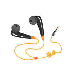 Black earphones with adapter cord music vector