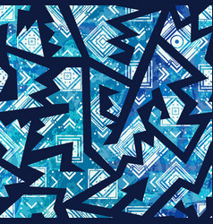 Blue tribal seamless pattern vector