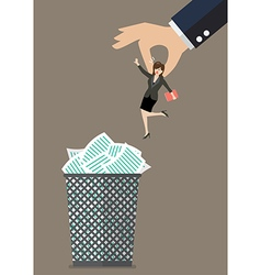 Boss throws a business woman in the trash can vector