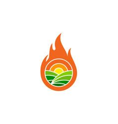 Burn farm logo icon design vector