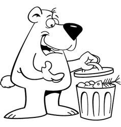 Cartoon bear looking in a garbage can vector