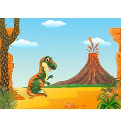 Cartoon funny tyrannosaurus with the volcano vector image