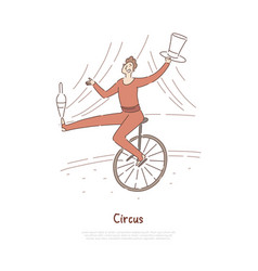 Circus performer actor in carnival costume vector