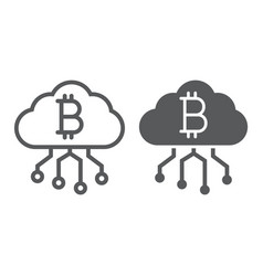 cloud mining line and glyph icon finance vector image