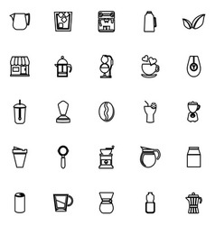 Coffee and tea line icons on white background vector image