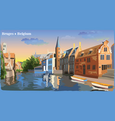 colorful view on water canal in bruges vector image