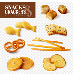 Crackers and snacks transparent set vector