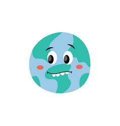 cute frightened or surprised earth planet vector image