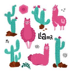cute llama set for design tree alpacaswith many vector image