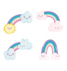 cute rainbows clouds sun weather sky cartoon vector image