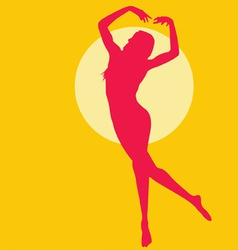 dancing woman silhouette red on yellow vector image