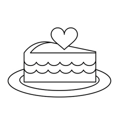 delicious cake with love heart outline vector image