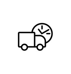 delivery truck line black icon vector image